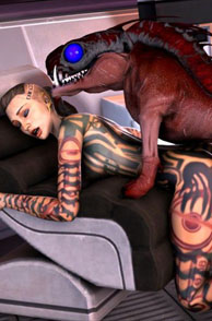 Mutant Creature Fucking A Tattooed Chick