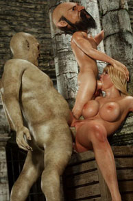 Gremlin And Goblin Double Fuck On A Busty Blonde
