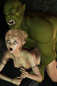 Pointy Ears Girl Getting Fucked From Behind By a Large Orc