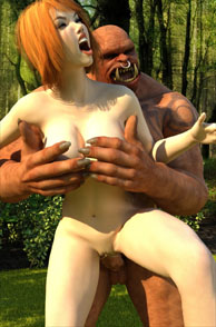 Busty Redhead Fucked By A Red Orc In The Woods