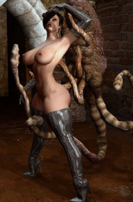 Tentacles Creature Captures A 3D Beauty In Thigh Boots