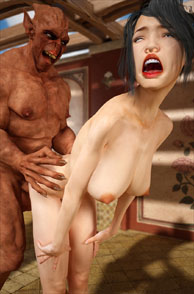 Demon Fucking A Busty 3D Slut From Behind