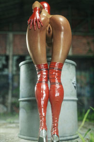 Sexy 3D Ass Babe Bent Over Wearing Sexy Red Boots