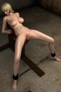 Open Legs 3D Nude Blonde Babe Shackled On A Chair